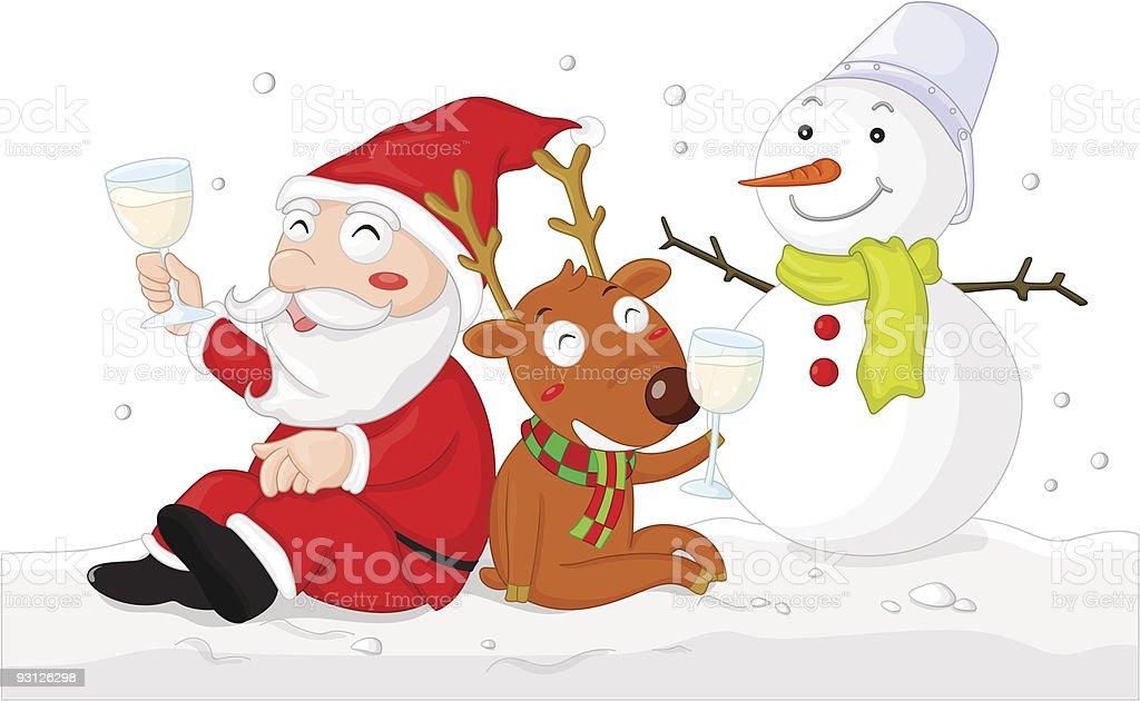 santa in the snow royalty-free stock vector art