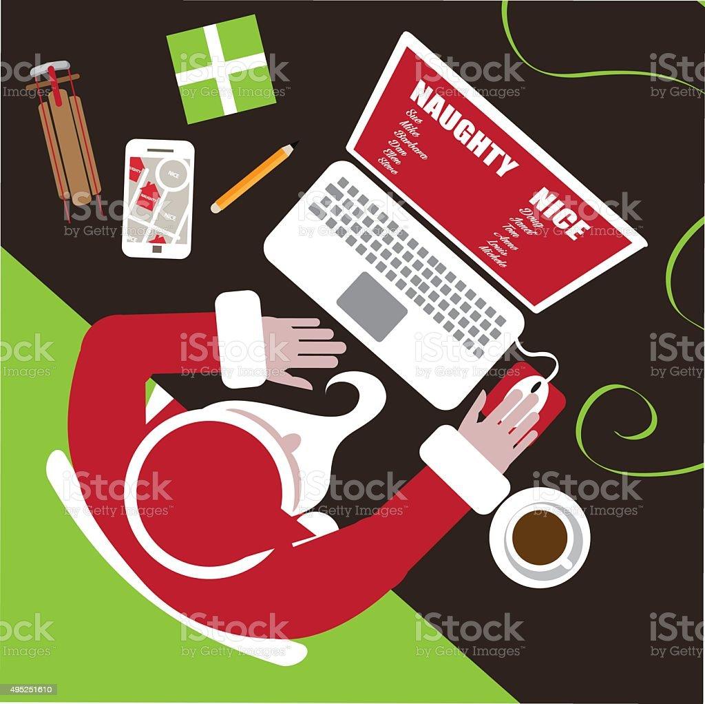 Santa inputs his naughty or nice list vector art illustration