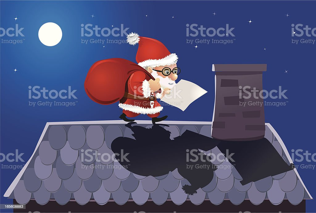 Santa is reading your christmas letter! royalty-free stock vector art