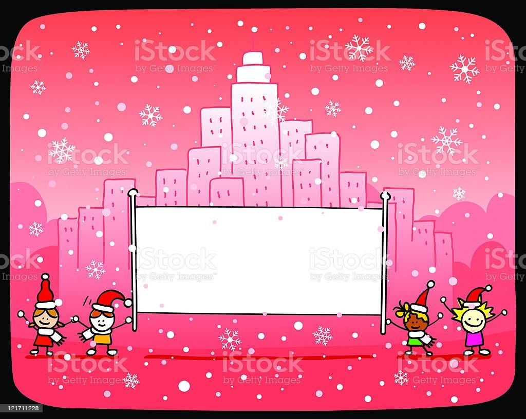 Santa kids with banner royalty-free stock vector art