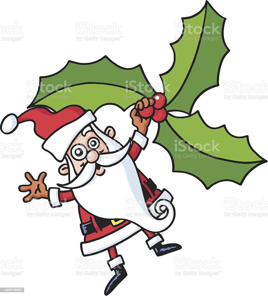 Santa & mistletoe vector art illustration