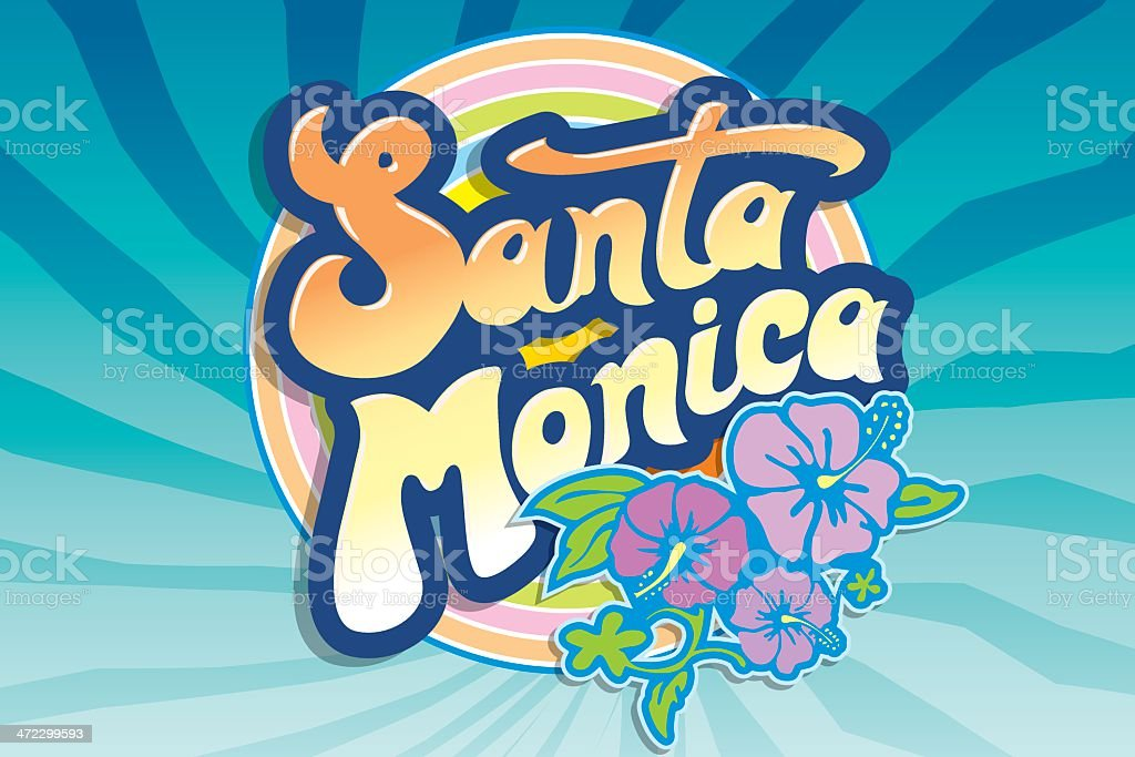 Santa Monica beach emblem royalty-free stock vector art