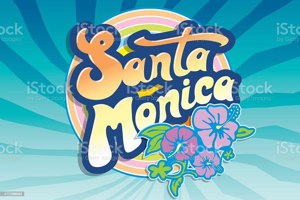 Santa Monica beach emblem vector art illustration