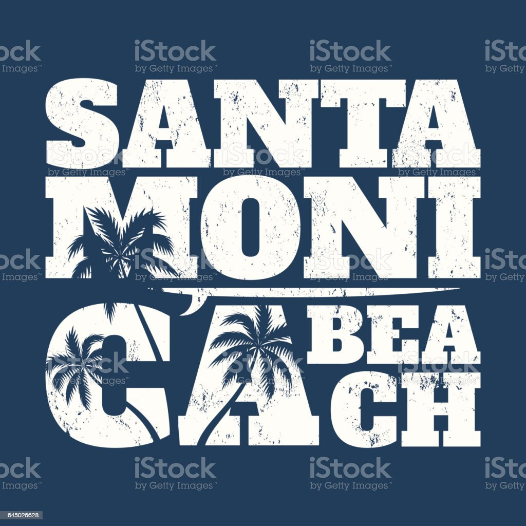 Santa Monica tee print with surfboard and palms. T-shirt design, graphics, stamp, label, typography. vector art illustration