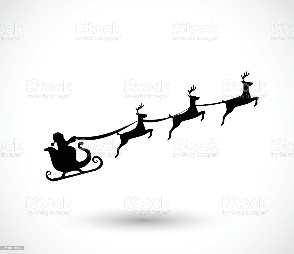 Santa on a sleigh with reindeers vector vector art illustration