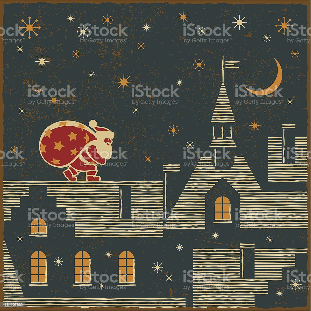 Santa on the roof royalty-free stock vector art
