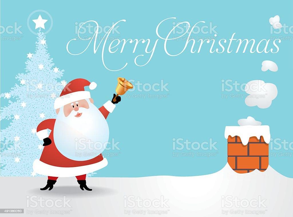 Santa On The Roof vector art illustration
