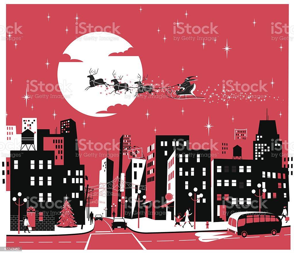 Santa over the City vector art illustration