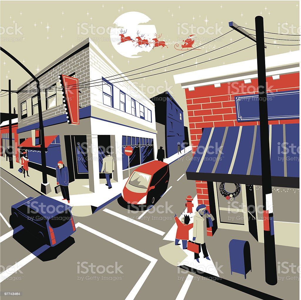Santa over town vector art illustration