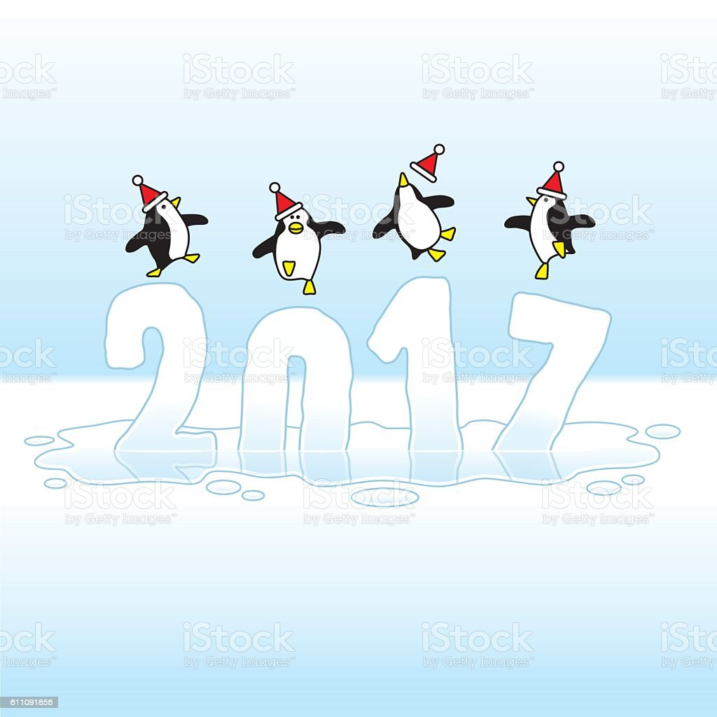 Santa Penguins Celebrating New Year 2017 on Melting Ice vector art illustration