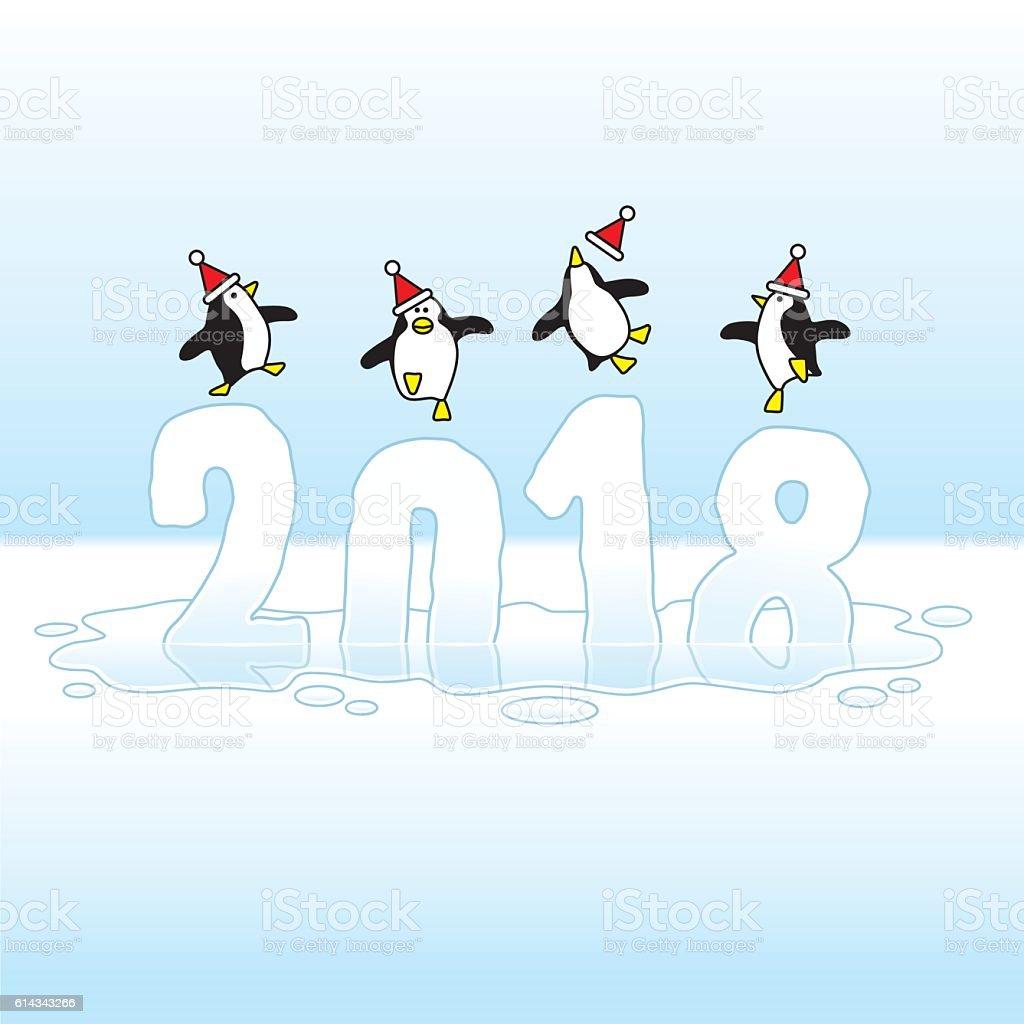 Santa Penguins Celebrating New Year 2018 on Melting Ice vector art illustration