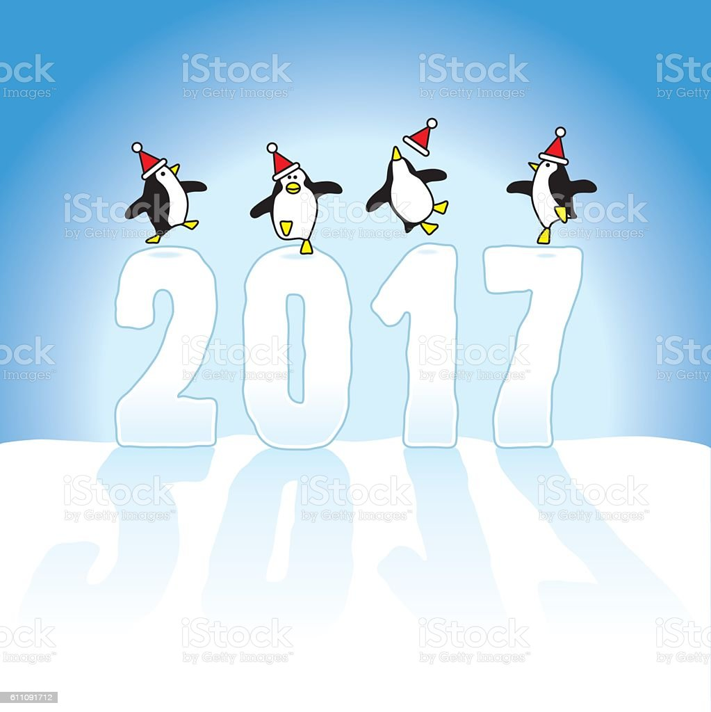 Santa Penguins Celebrating on top of Year 2017 vector art illustration