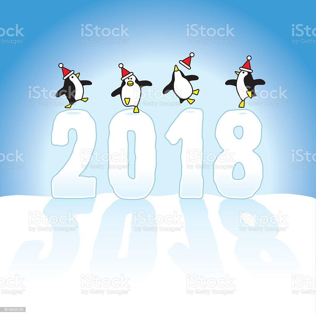 Santa Penguins Celebrating on top Year 2018 vector art illustration