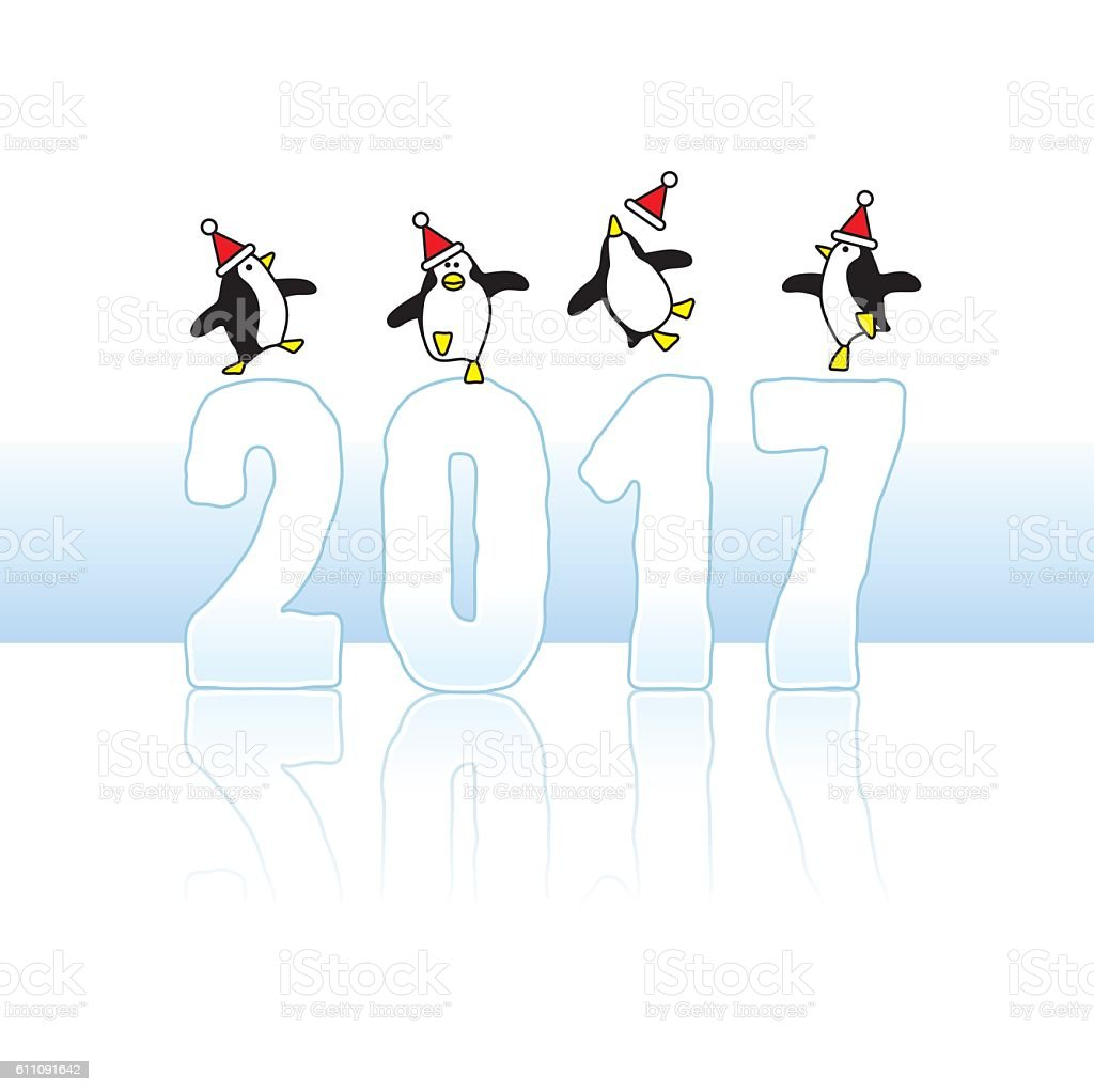 Santa Penguins Celebrating on Year 2017 vector art illustration