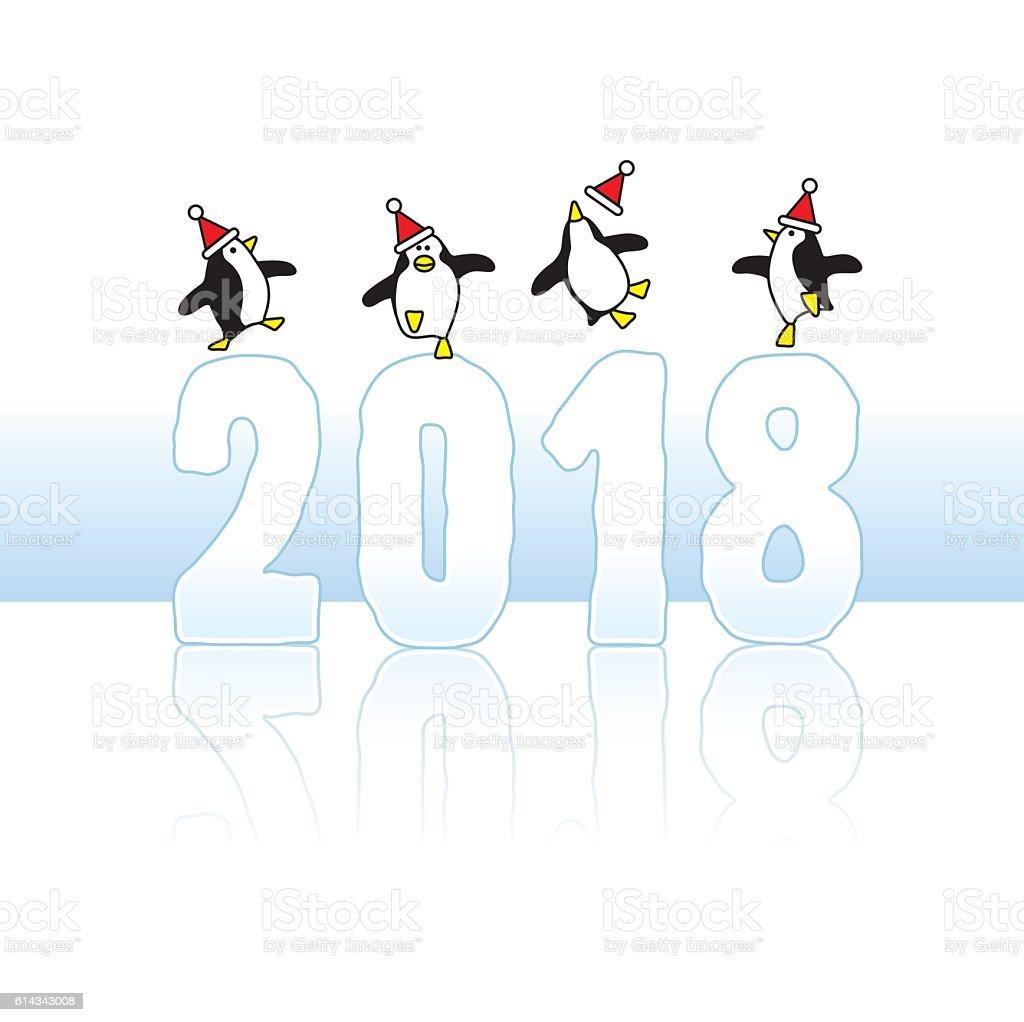 Santa Penguins Celebrating on Year 2018 vector art illustration