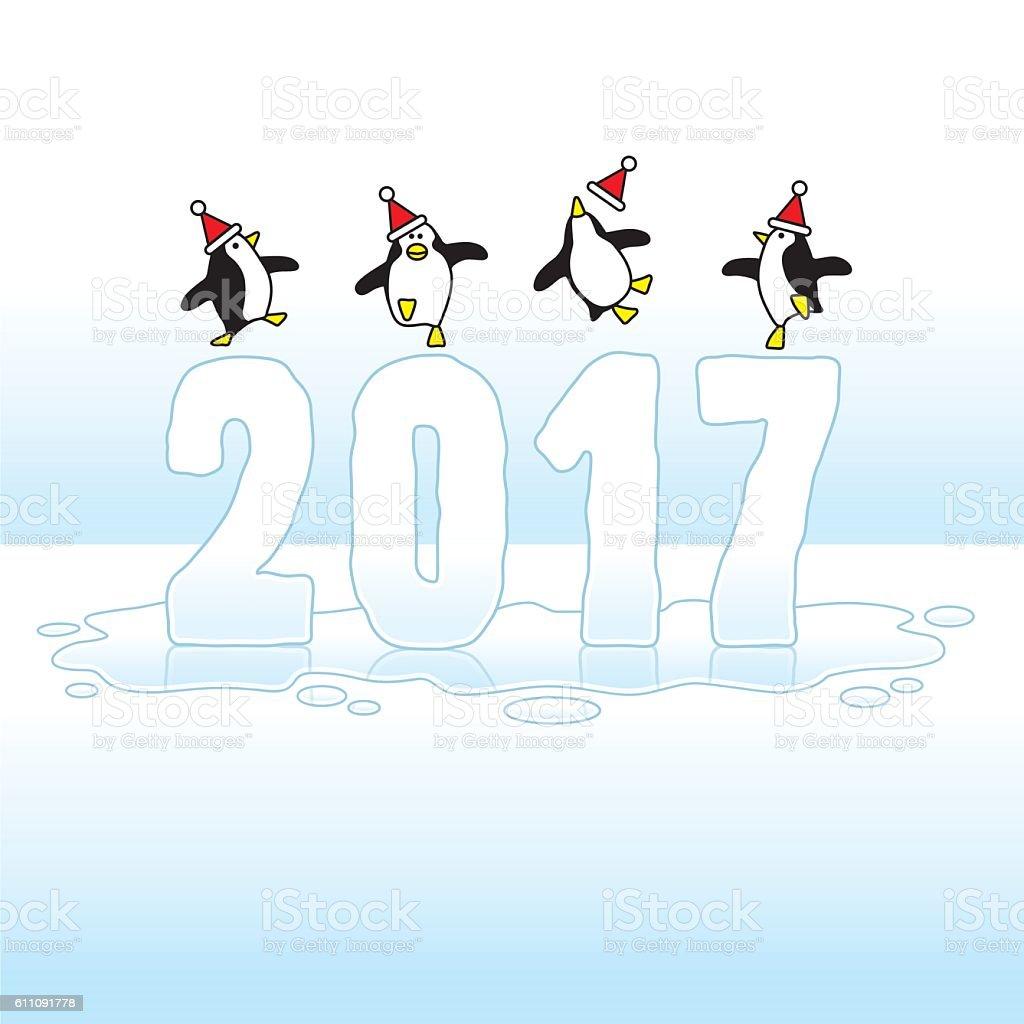 Santa Penguins Celebrating Year 2017 on Ice vector art illustration