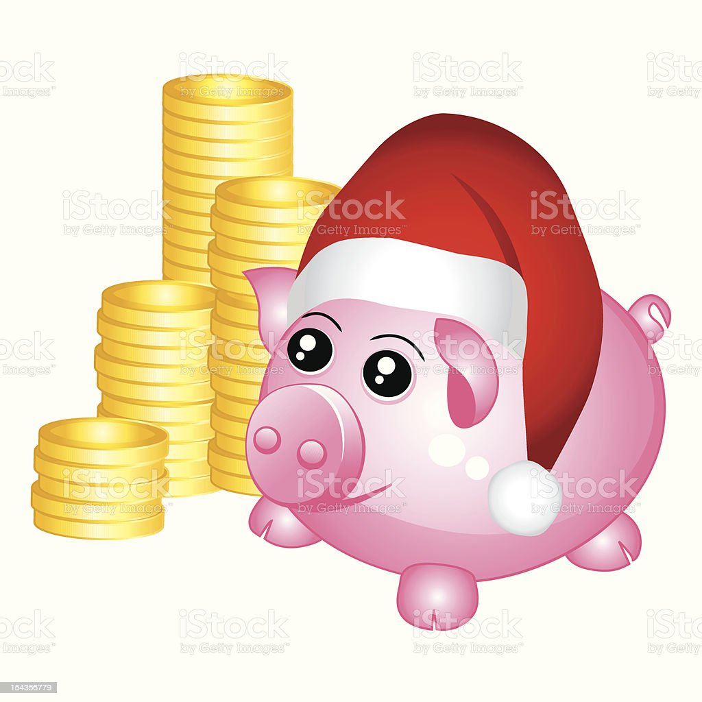 Santa piggy bank royalty-free stock vector art