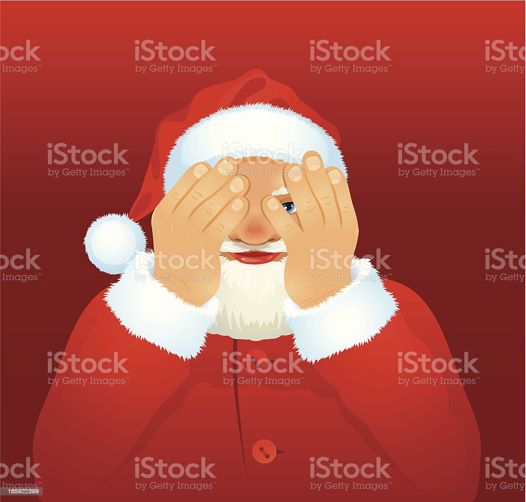 Santa playing hide and seek royalty-free stock vector art