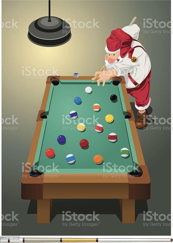 Santa playing pool vector art illustration