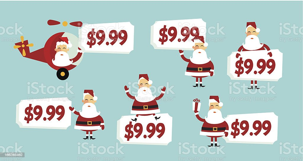 Santa price tag vector art illustration