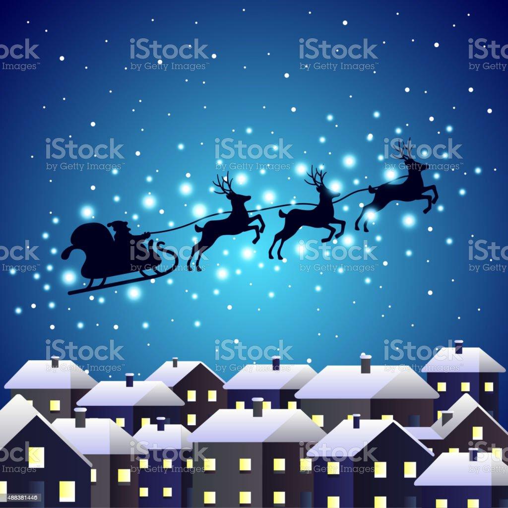 Santa reindeer silhouette on night city vector art illustration