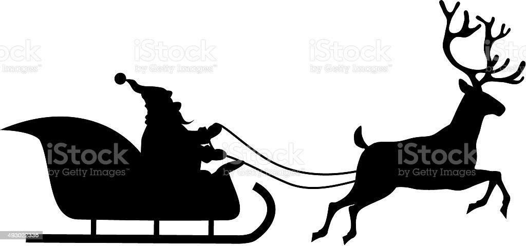 Santa rides in a sleigh vector art illustration