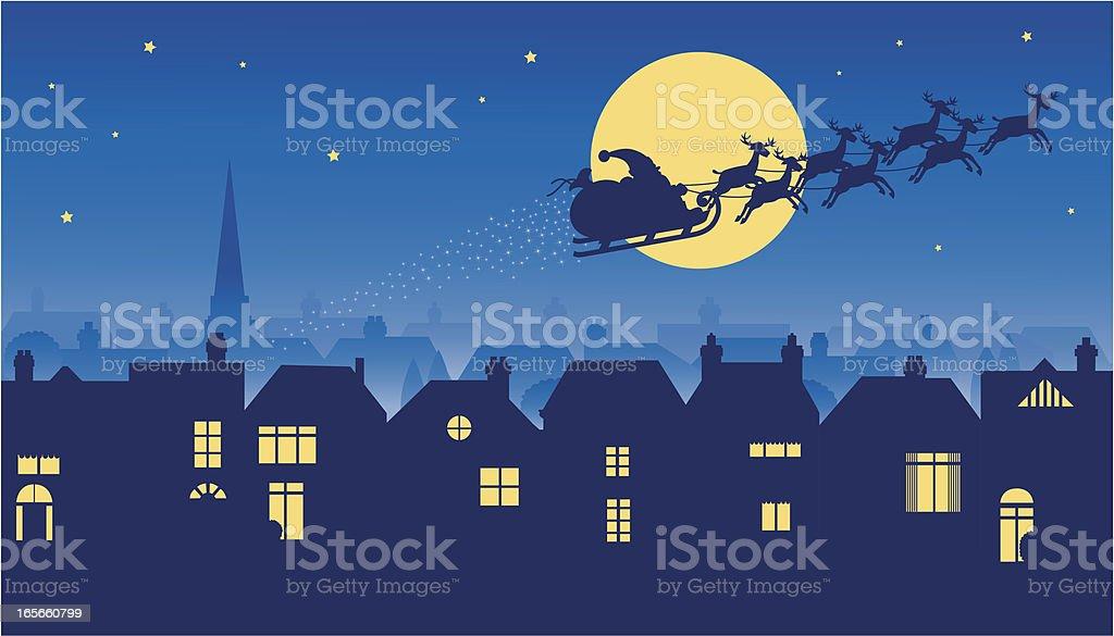Santa riding reindeer sleigh on Christmas Eve vector art illustration