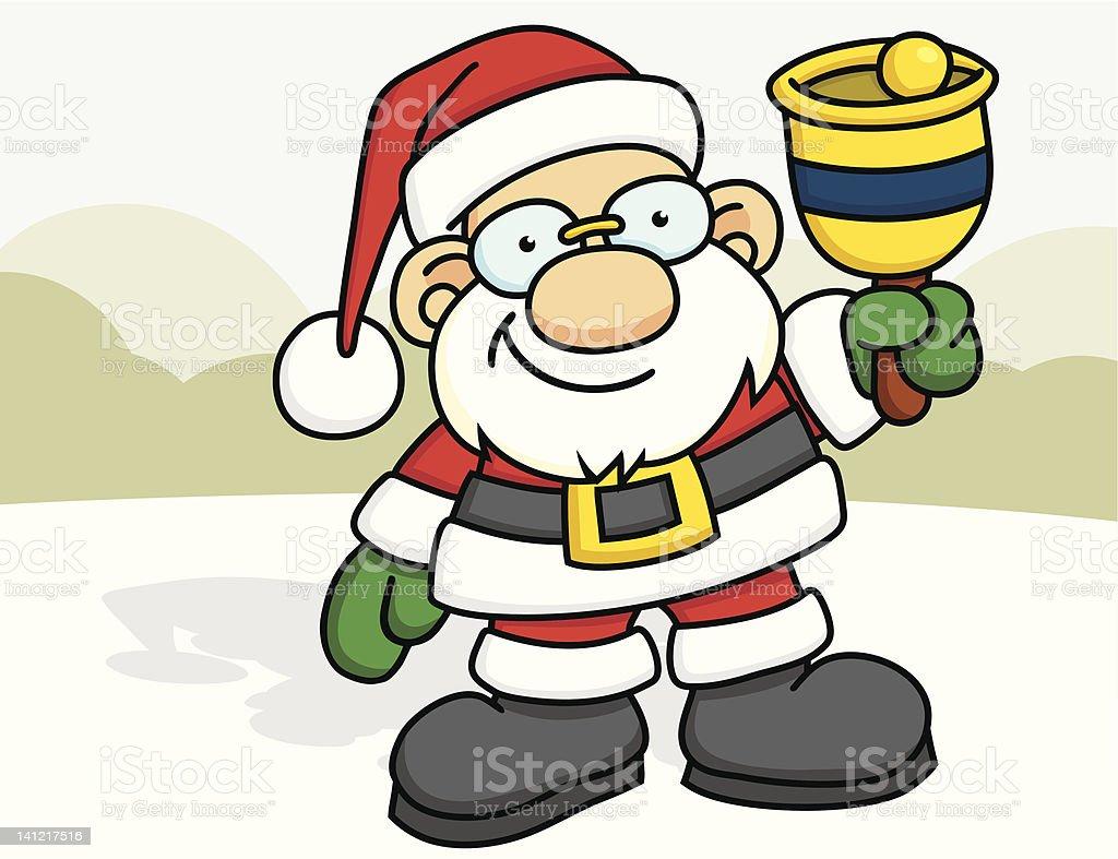 Santa Ringing a Bell vector art illustration