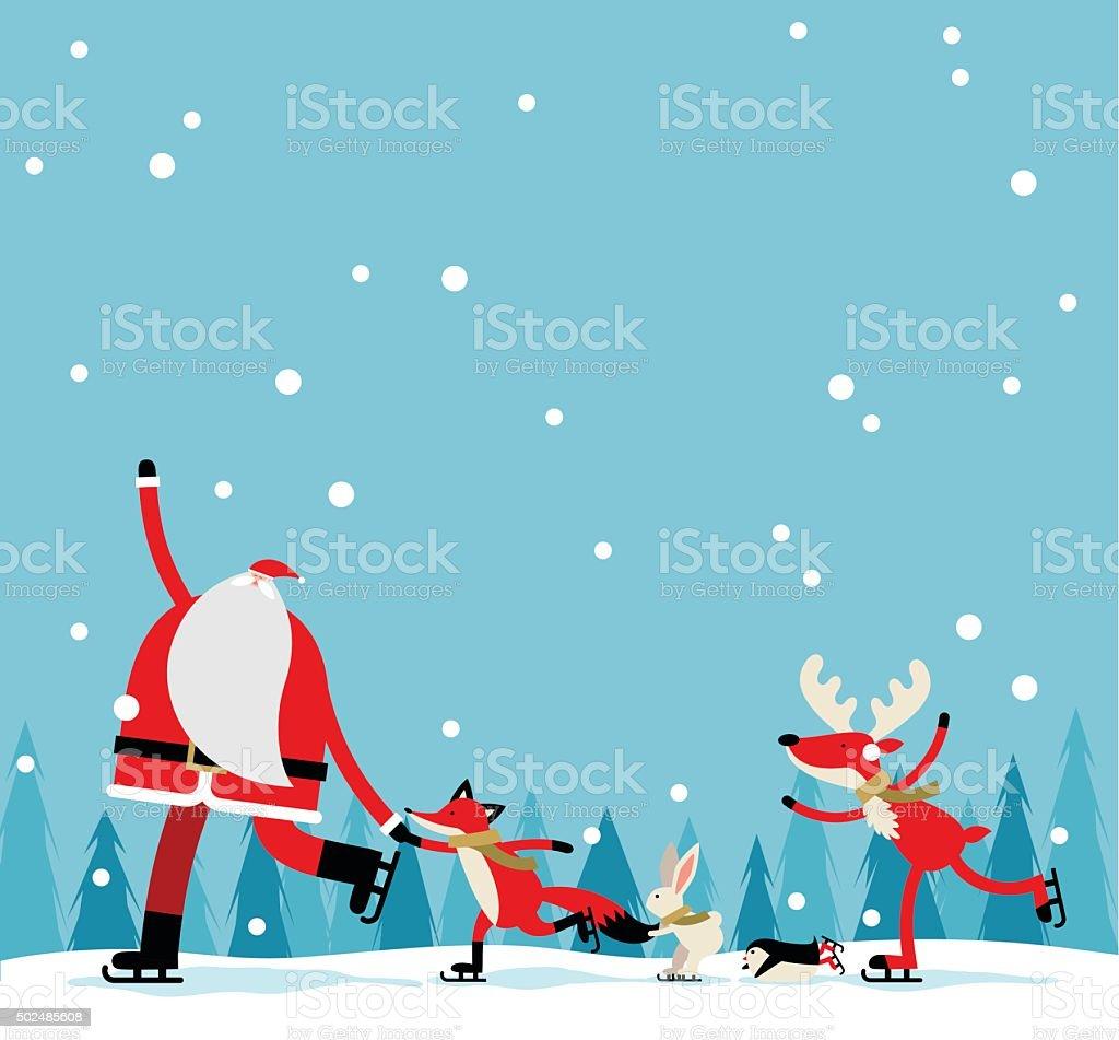 Santa skate vector art illustration