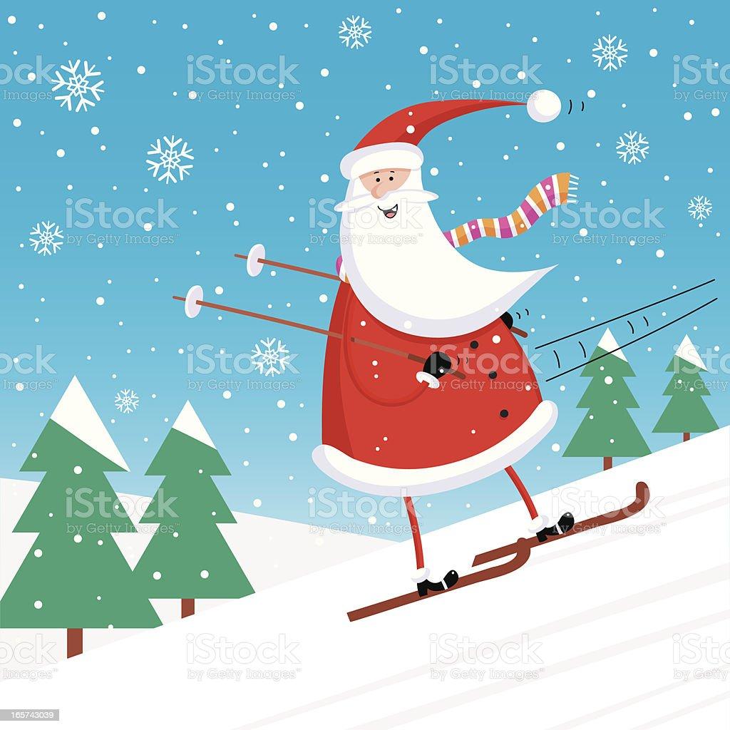 Santa Skiing Backwards royalty-free stock vector art