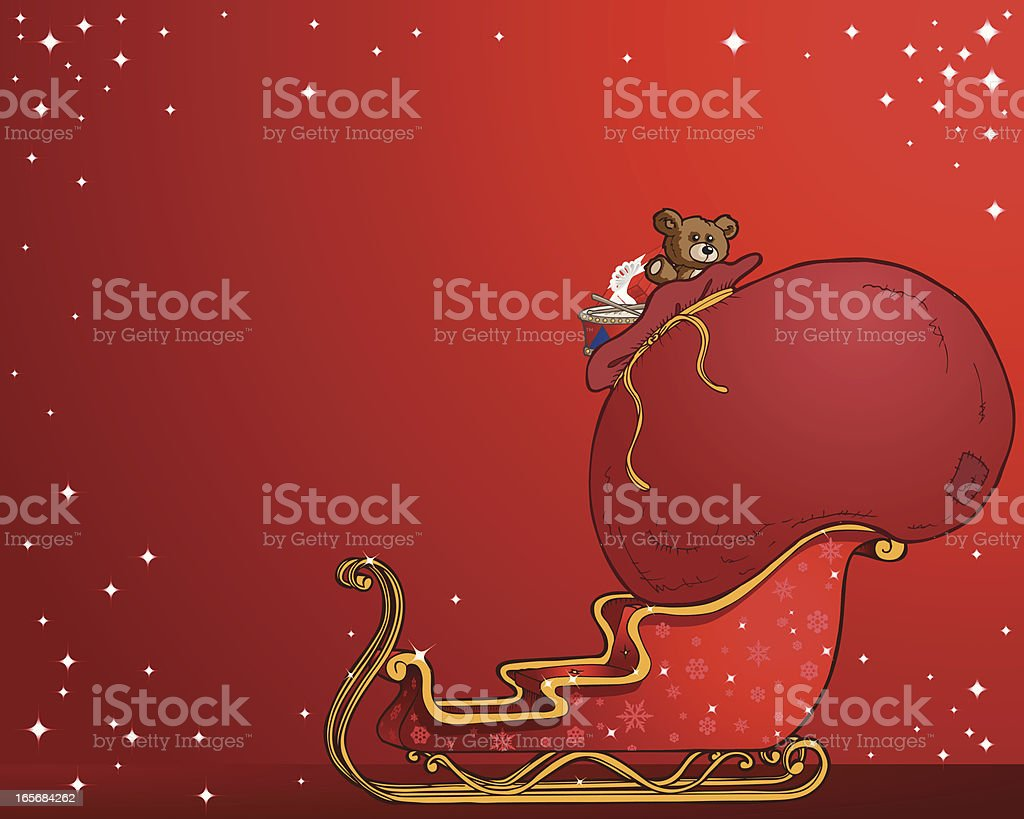 Santa Sleigh Card royalty-free stock vector art