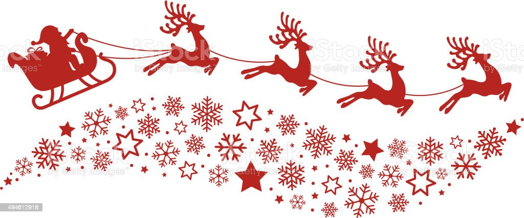santa sleigh reindeer flying snowflakes red silhouette vector art illustration