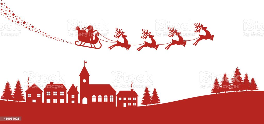 santa sleigh reindeer red silhouette vector art illustration