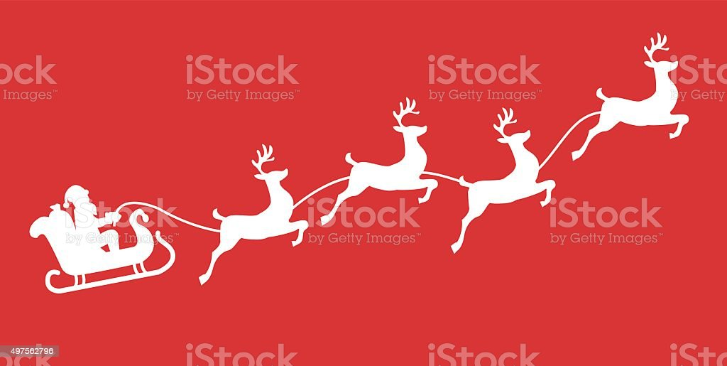 Santa sleigh reindeer  silhouette with snow vector art illustration