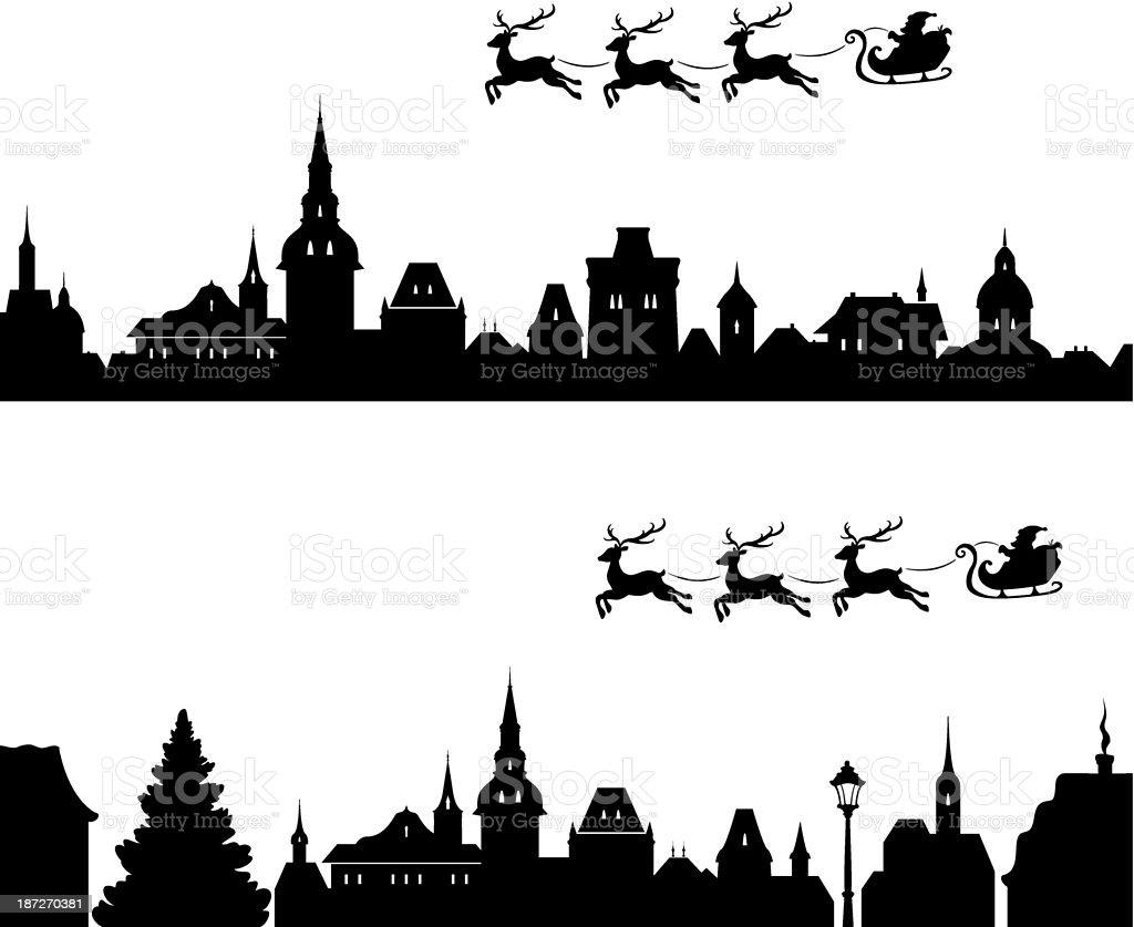 Santa sleigh silhouette vector art illustration
