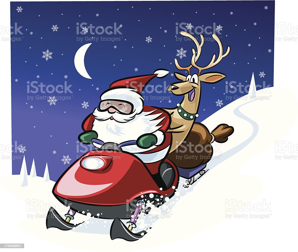 Santa Snowmobile C vector art illustration