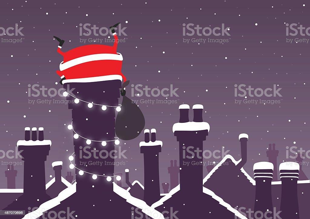 Santa stuck down a chimney at Christmas with snow vector art illustration