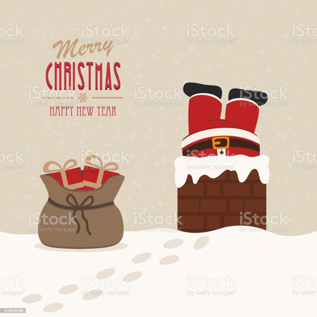 santa stuck in chimney gift bag snow background vector art illustration