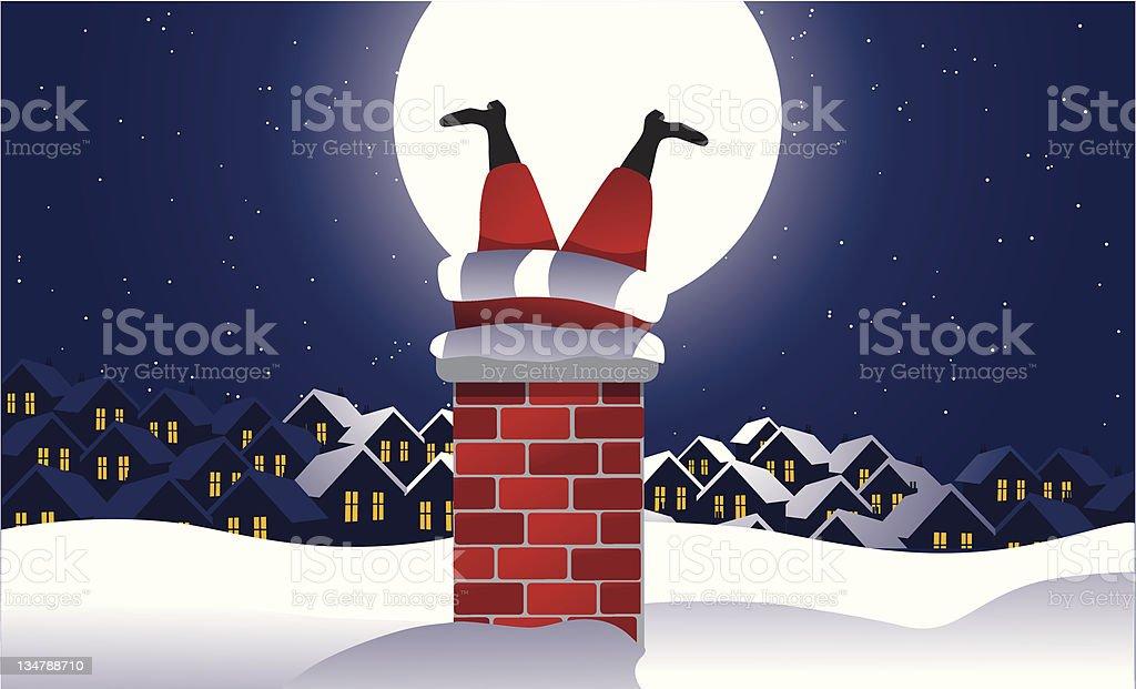 Santa stuck in the chimney vector art illustration