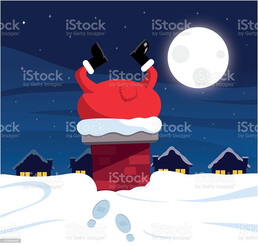 Santa stuck in the chimney royalty-free stock vector art
