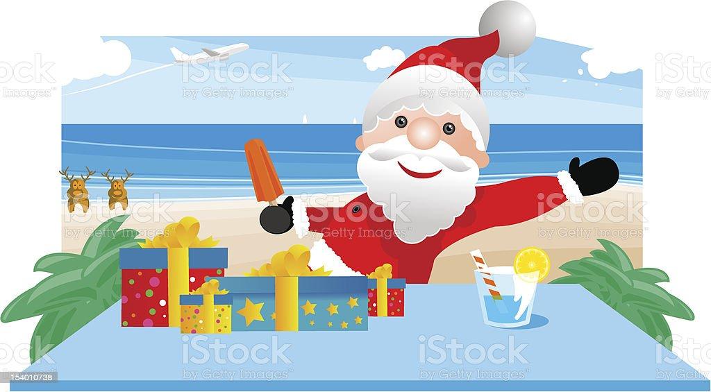 Santa summer vector art illustration