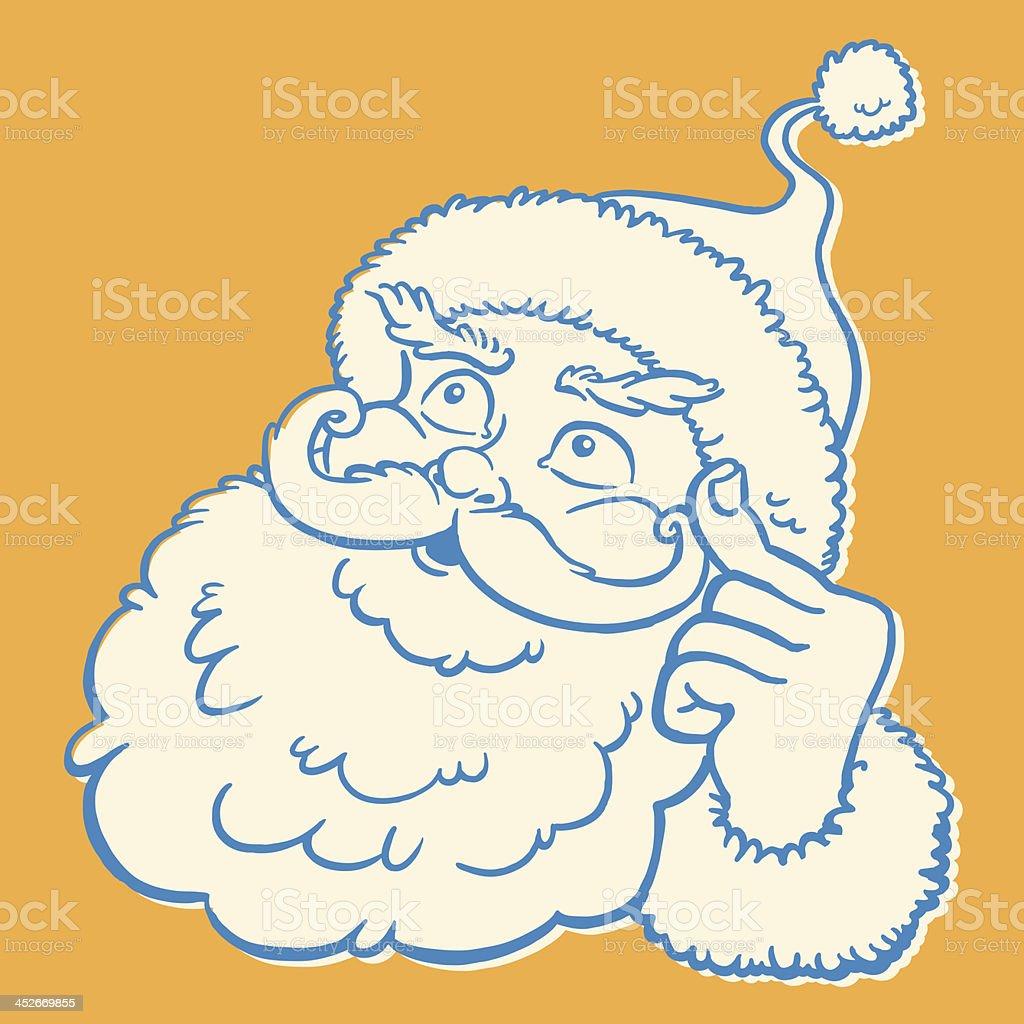 Santa Thinking vector art illustration