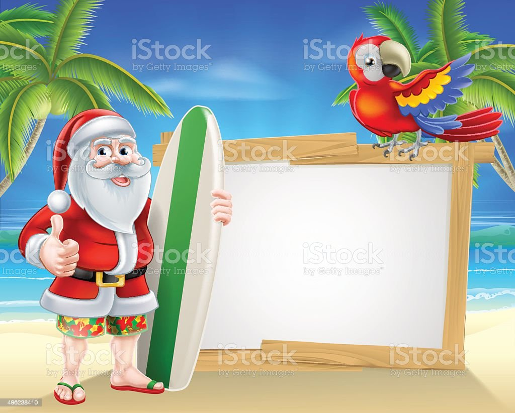 Santa tropical beach sign vector art illustration