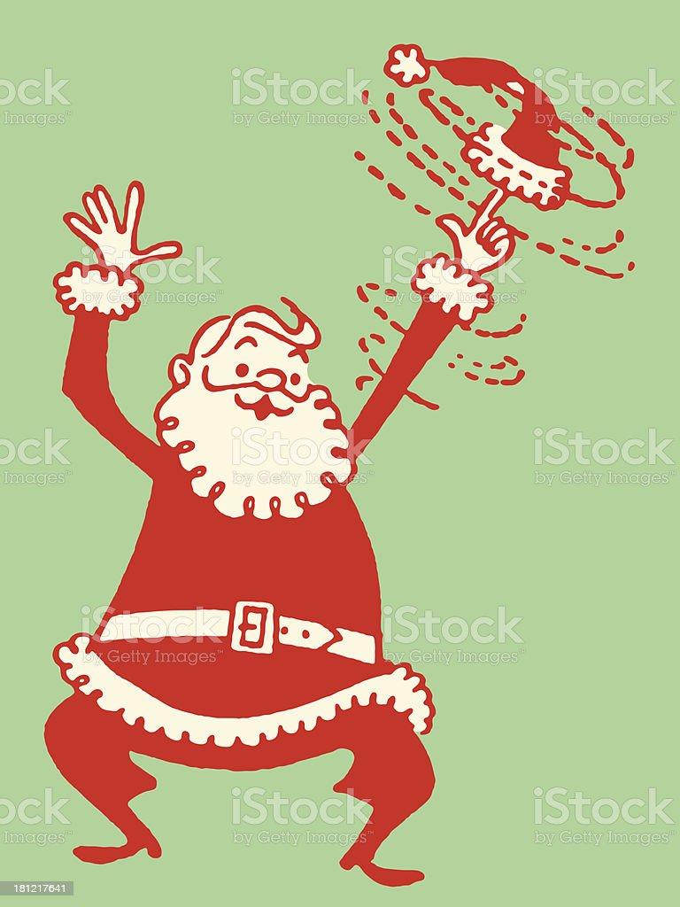 Santa Twirling His Cap vector art illustration