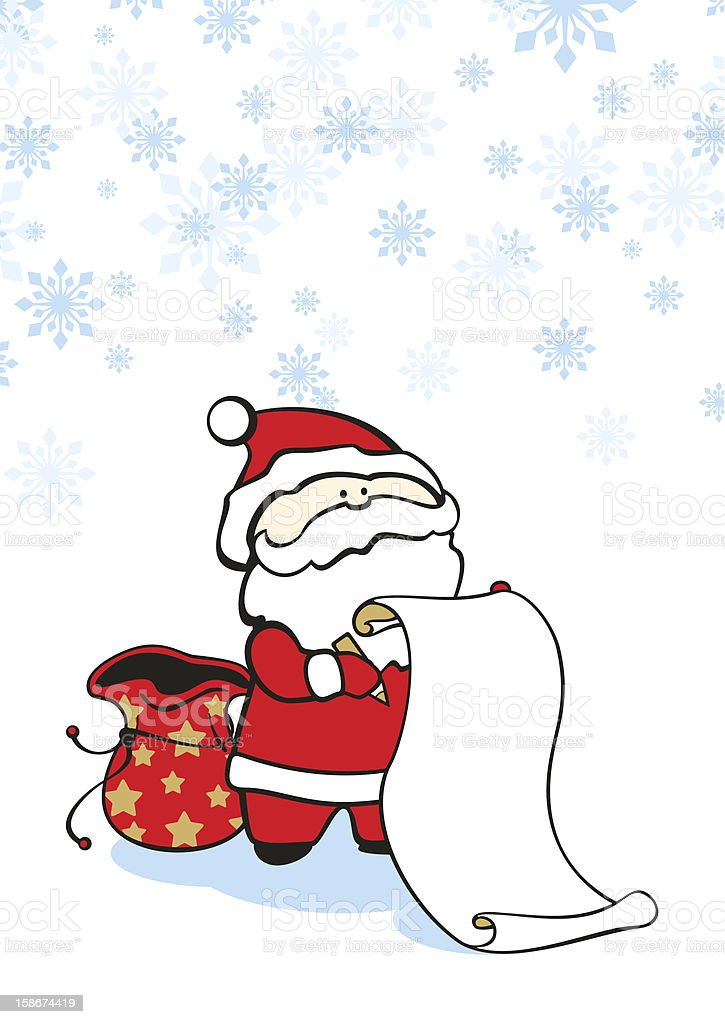 Santa with a scroll royalty-free stock vector art