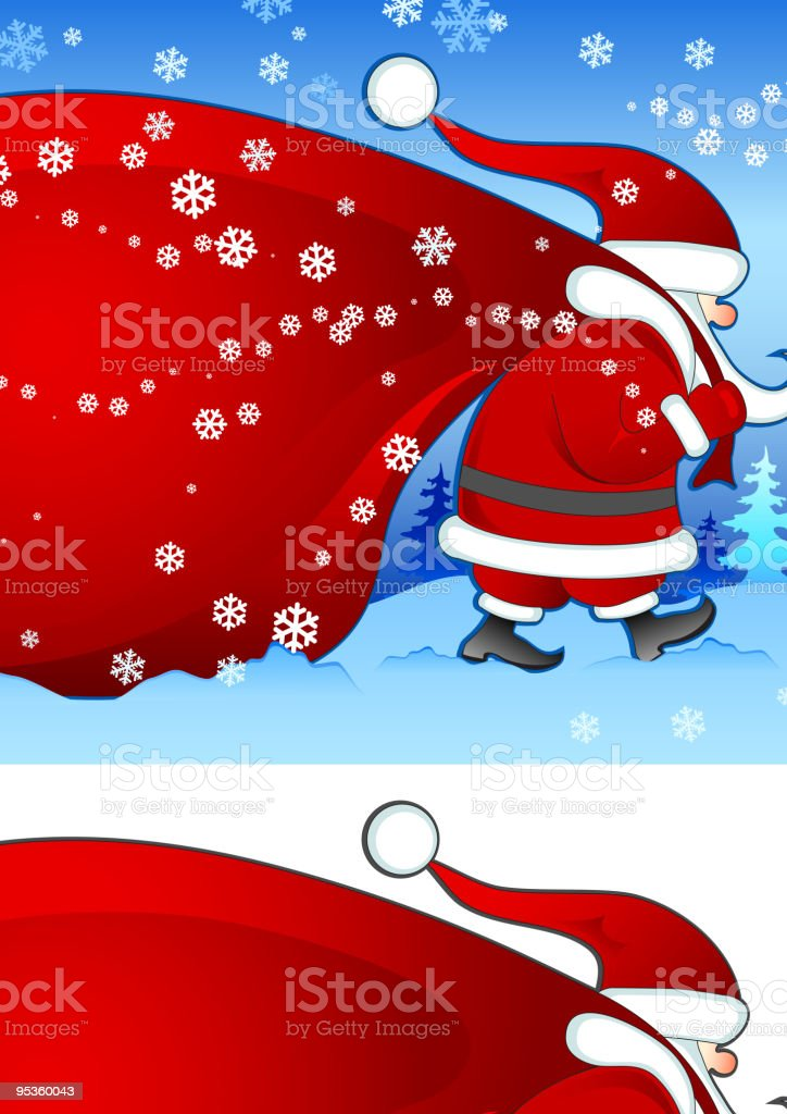Santa with bag in blue royalty-free stock vector art