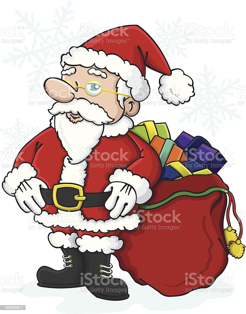 Santa with bag of gifts vector art illustration