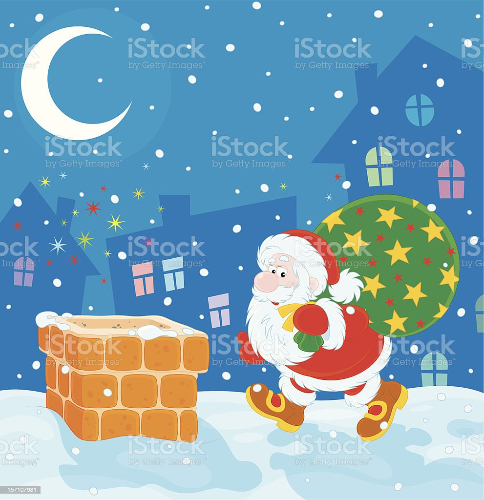 Santa with Christmas gifts on a housetop royalty-free stock vector art
