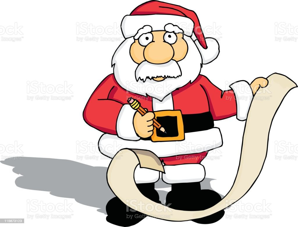 Santa with his List vector art illustration