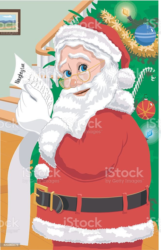 Santa with his Naughty List vector art illustration
